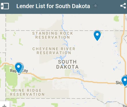 South Dakota Bad Credit Lenders Map - Initial Static Image