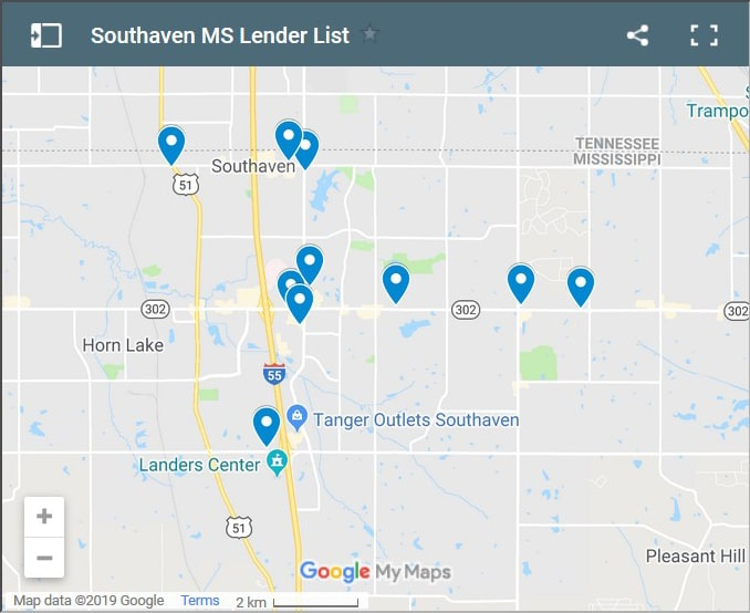 Southaven Bad Credit Lenders Map - Initial Static Image