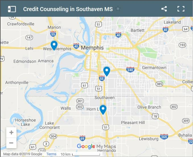 Southaven Credit Counsellors Map - Initial Static Image