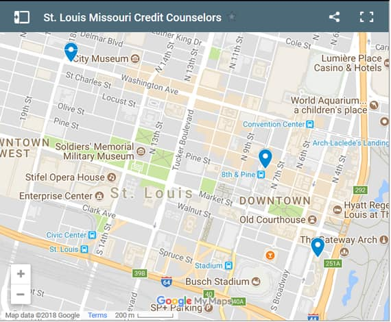 St. Louis Credit Counsellors Map - Initial Static Image