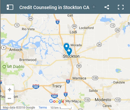 Stockton Credit Counsellors Map - Initial Static Image