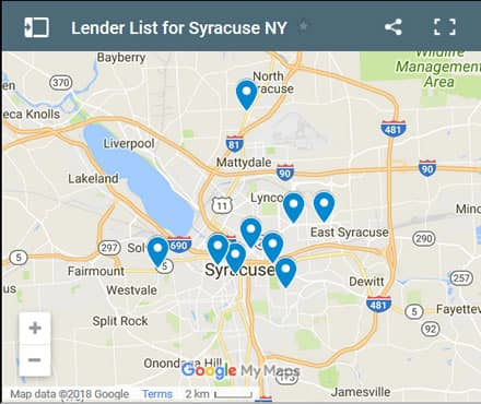 Syracuse Bad Credit Lenders Map - Initial Static Image
