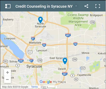 Syracuse Credit Counsellors Map - Initial Static Image