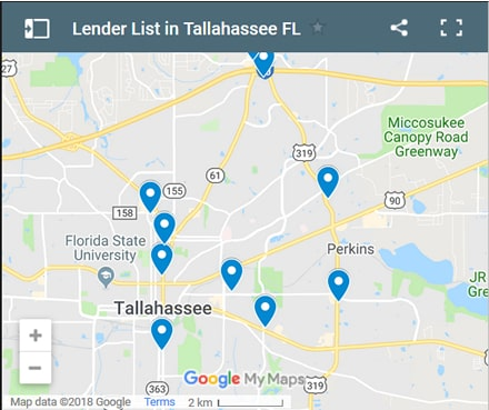 Tallahassee Bad Credit Lenders Map - Initial Static Image
