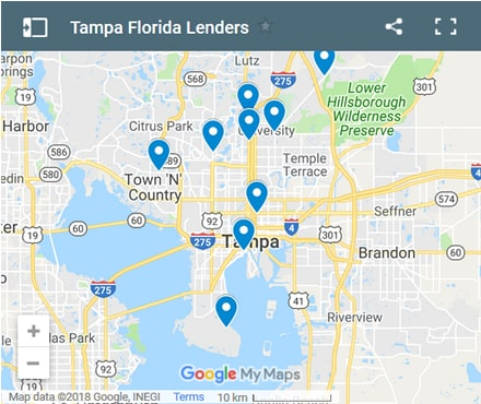 Tampa Bad Credit Lenders Map - Initial Static Image