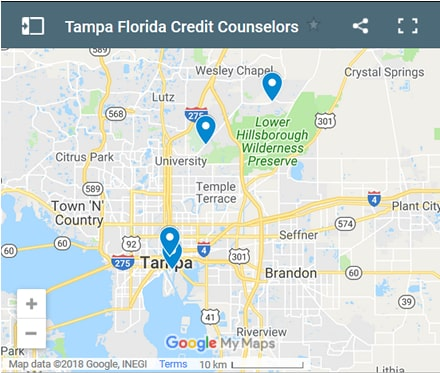 Tampa Credit Counsellors Map - Initial Static Image
