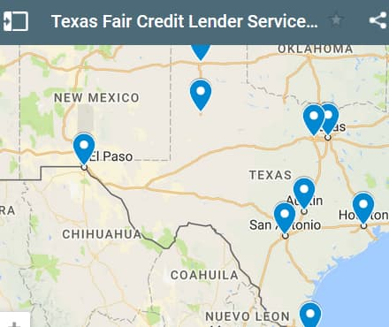Texas Bad Credit Lenders Map - Initial Static Image
