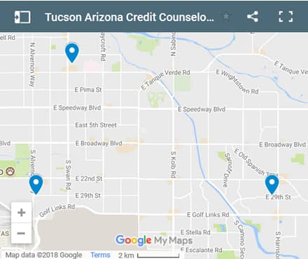 Tucson Credit Counsellors Map - Initial Static Image