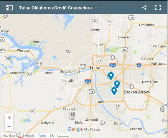 Tulsa Credit Counsellors Map - Initial Static Image