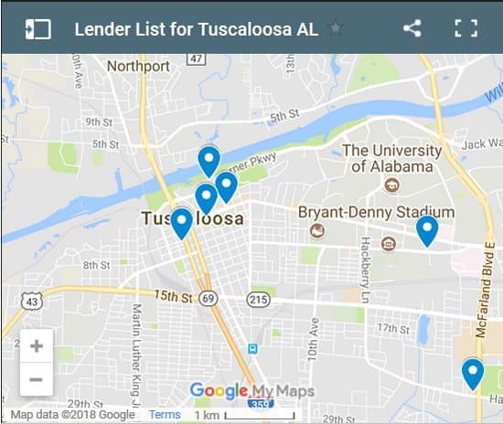 Tuscaloosa Bad Credit Lenders Map - Initial Static Image