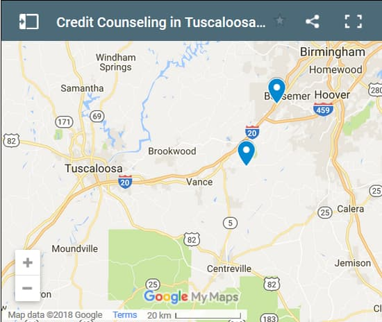 Tuscaloosa Credit Counsellors Map - Initial Static Image