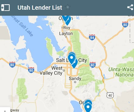Utah Bad Credit Lenders Map - Initial Static Image