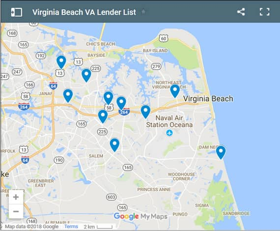 Virginia Beach Bad Credit Lenders Map - Initial Static Image