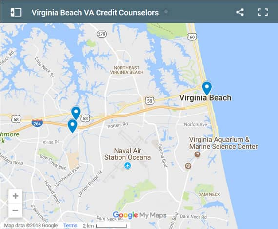 Virginia Beach Credit Counsellors Map - Initial Static Image