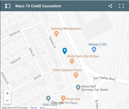 Waco Credit Counselors Map - Initial Static Image