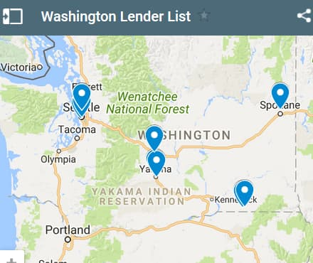 Washington Bad Credit Lenders Map - Initial Static Image