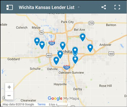 Wichita Bad Credit Lenders Map - Initial Static Image