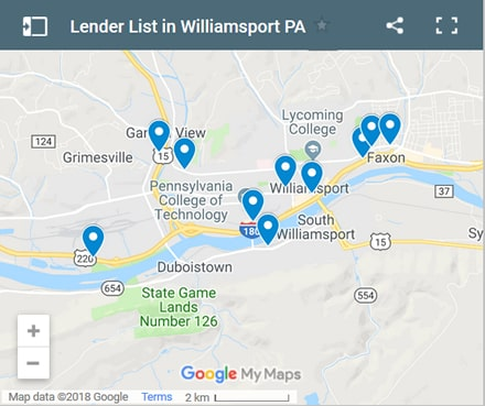 Williamsport Bad Credit Lenders Map - Initial Static Image
