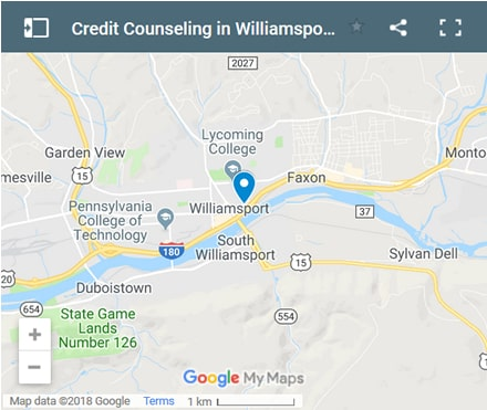Williamsport Credit Counsellors Map - Initial Static Image