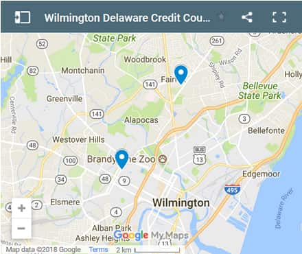 Wilmington Credit Counsellors Map - Initial Static Image
