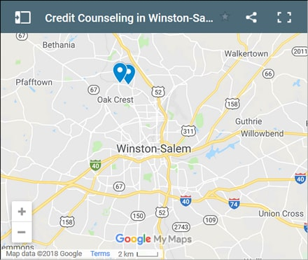 Winston Salem Credit Counsellors Map - Initial Static Image