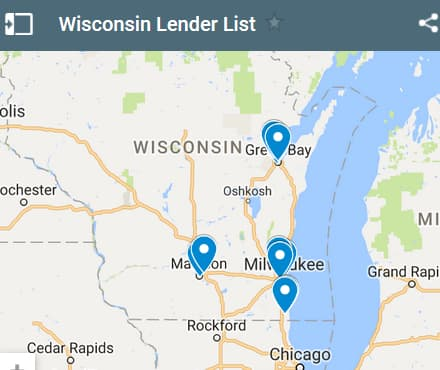 Wisconsin Bad Credit Lenders Map - Initial Static Image