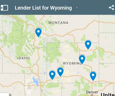 Wyoming Bad Credit Lenders Map - Initial Static Image