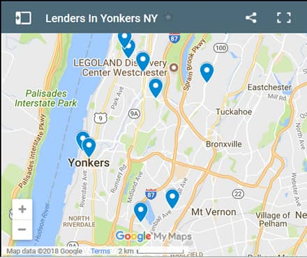 Yonkers Bad Credit Lenders Map - Initial Static Image